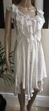High Use ~ Claire Campbell ~ Elegant Taupe Silk Summer Dress UK12