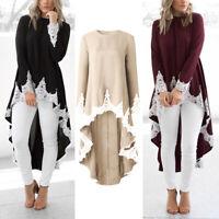 Womens Long-Sleeve Lace Ruffles Asymmetrical Casual Tops Shirt Blouse Mini Dress