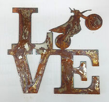 "6"" LOVE Square Dirt Bike Motorcycle Rusty Metal Wall Art Craft Stencil Sign DIY"
