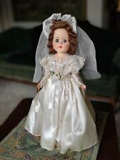 """Vintage PMA Plastic Molded Arts Hard Plastic 12"""" Bride Doll All Original"""