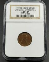 Broad Struck + Lamination Error Coin 1920 P LINCOLN Wheat Cent Penny NGC AU55 BN