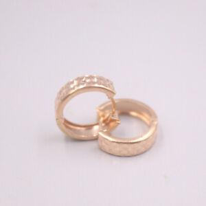 Pure 18K Rose Gold Woman Earrings Luck Point Pattern Earrings 2.2-2.5g 15x4mm