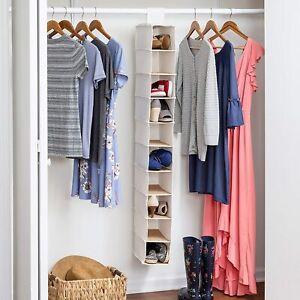 Shoe Hanging Storage Organizer Shelf 10-shelf Rack Closet Holder Bamboo Boot .