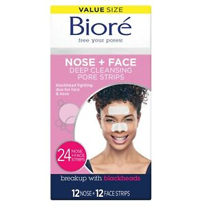 NEW  Bioré Original Nose+Face, Deep Cleansing Pore Strips 24-12 Nose+12 Face