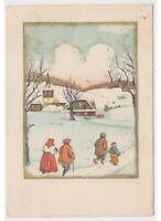 1938 Familia Puesta por Navidad País Nevado Tarjeta Postal Navidad Antigua