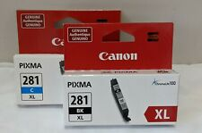 Canon Pixma 281 (CLI281 XL BK) Black Ink Jet Cartridge, Plus CLI 281 XL C Cyan