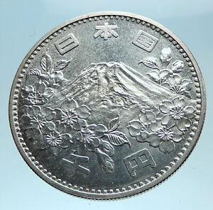 1964 JAPAN Tokyo Summer Olympic Games 3.5cm Silver Japanese MT FUJI Coin i78218