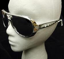 ANNI 70 '70 1970s Costume Rock Star Occhiali da sole argento Elvis NUOVO