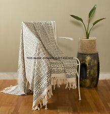 New Indian 100% Cotton Large Hand Block Print Blanket Tassel Throw Rug 132x182cm