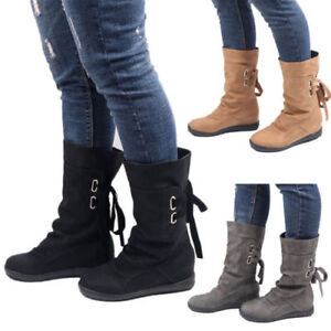 Womens Faux Suede Round Toe Riding Shoes Lace Up Solid Mid Calf Boots Plus Size