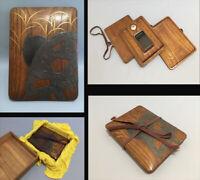 """尾形光琳 OGATA KORIN """"VERY RARE"""" Japanese egret design Inlaid Ink Stone Box d1009"""