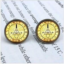 Anime Gravity Falls Mysteries BILL CIPHER WHEEL Earrings Women 12mm/0.47inch men