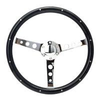 "15"" Round Hole Polished Spoke Deep Dish Wooden Steering Wheel Universal Black"