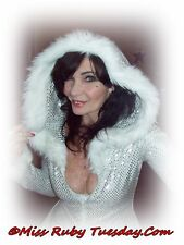 Sexy Silver Sequin Winter Fur Hooded Dress Jacket