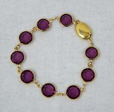 "Swarovski Purple Crystal Set in Gold Plate Bracelet 6.5"" B2571"