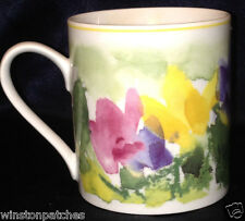 TRIPTIS THURINGEN GERMANY MUG 12 OZ IMPRESSIONISTIC FLOWERS FLORAL YELLOW TRIM