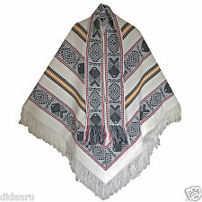 WHITE MENS WOMANS UNISEX PONCHO CAPE COAT JACKET CLOAK HANDCRAFTED IN ECUADOR