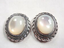 Mother of Pearl with Rope Style Accents 925 Sterling Silver Stud Oval Earrings