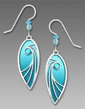 Adajio Earrings Aqua Teardrop with Shiny Silver Tone Swirl Overlay and Bead 7649
