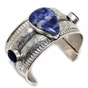 Sodalite, Blue Sapphire 925 Sterling Silver Jewelry Bangle Adst