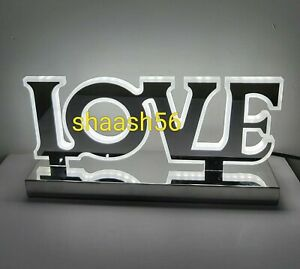 New Stunning LED Table Bed Side Lamp Light Mirror Finish LOVE Home Décor Bling