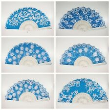 12 Pcs Blue Silver Glitter Floral Pattern Hand Fan For Wedding Shower Party Favo