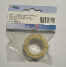 hobby time Velour-Lederband-Rolle flach beige 2m 3 mm