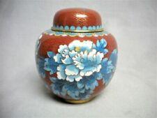 Vintage Red & Blue Cloisonne Enamel Covered Ginger Tea Jar Flower Mint Japanese