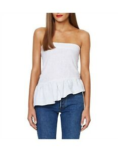 Bec and Bridge Frou Frou White Linen Strapless Top Frill Size 10