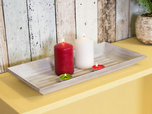 40cm Rustic Wooden Candle Holder Tray Plate Church Pillar Tea Light Shabby Chic