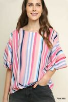UMGEE Multicolor Striped Ruffled Sleeve Top Size SML & Plus Size XL 1X 2X