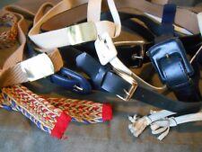 Old Vintage Mixed Lot of 9 Belts - Blue Black White Color Tie Slide Buckle .