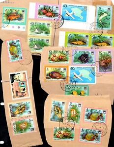 Tuvalu kiloware - 58 x stamps, commercially used on piece (67E)