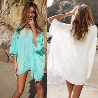 Women Bathing Swimwear Bikini Cover Up Ladies Beachwear Summer Loose Mini Dress