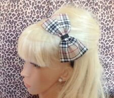 "NEW BEIGE NOVA TARTAN PLAID CHECK FABRIC 5"" SIDE BOW ALICE HAIR HEAD BAND CUTE"