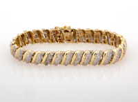 "Estate Diamond Bracelet 14K Yellow Gold 2.32 CTW Round Diamonds Ladies 7"""
