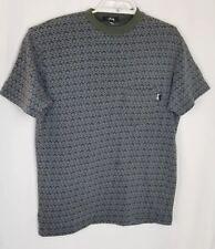 VINTAGE Men's STUSSY Shirt GREEN Crewneck Front Pocket Geometric Print Size S