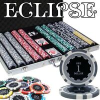 New 1000 Eclipse 14g Clay Poker Chips Set with Aluminum Case - Pick Chips!