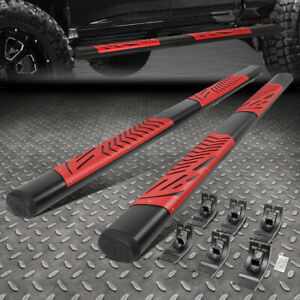 """FOR 09-20 DODGE RAM 1500 2500 3500 CREW CAB 5""""OVAL STEP BAR RUNNING BOARDS RED"""