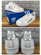 ADIDAS SUPERSTAR UK 4 EU36 2/3 SHELLTOE SILVER SNAKE SKIN WHITE LEATHER TRAINERS