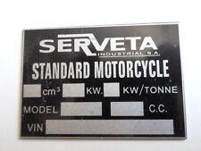 Typenschild Schild Serveta Lambretta ID-plate plaque du constructeur S20