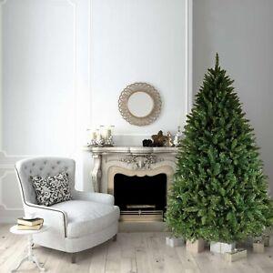 8ft Christmas Xmas Tree Green Bavarian Premium Pine Hinged 2900 Tips