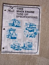 1986 Mack Truck Engine Tune Up Specifications Manual Six Eight Cylinder  T