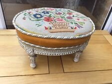 OVAL ANTIQUE TAPESTRY FOOTSTOOL ORNATE LEGS