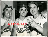 MLB 1956 Brooklyn Dodgers Snider Bessent Hodges in Clubhouse 8 X 10 Photo