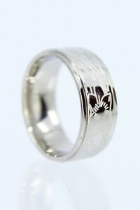Hawaiian Heritage Heirloom Band Ring - Rhodium Plated Brass, 8mm Thick, Silver