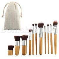 11pc Bamboo Handle Cosmetics Foundation Blending Blush Powder Cream Makeup Brush