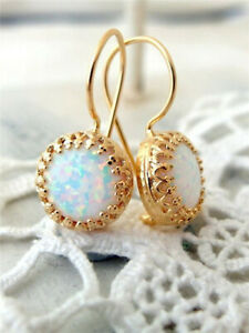 18K Yellow Gold Filled White Fire Opal Ear Stud Hoop Dangle Engagement Earrings