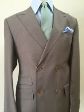 Olive grey super 150 double breasted Cerrutti wool-Made in Italy suit