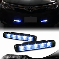 Universal 12V Gunmetal Housing Smoked Lens White LED Daytime Running Lights DRL